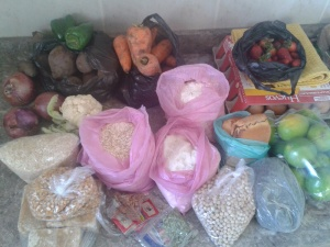 What I got from the very small mercado in Urcuqui (minus the huevos/eggs)